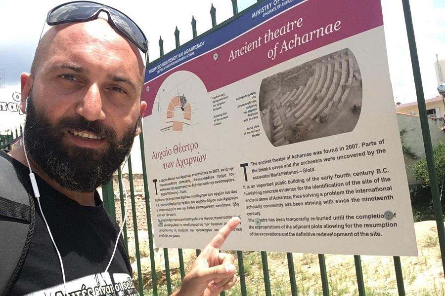 Αχαρνές-Τραπεζούντα-Αχαρνές με το ποδήλατο για δεύτερη φορά, αναδεικνύοντας το αρχαίο θέατρο των Αχαρνών