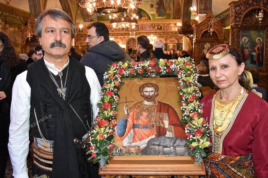 Συγκίνηση στη Χαλκίδα: Οι «Κομνηνοί» Εύβοιας προσέφεραν στο ναό του Αγίου Ιωάννη του Προδρόμου την εικόνα του Αγίου Ευγενίου του Τραπεζούντιου (φωτο)
