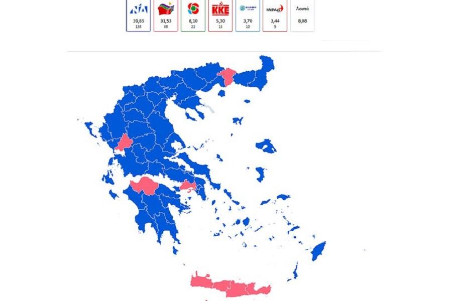 Αποτελέσματα εκλογών 2019: Αυτοδυναμία τετραετίας για ΝΔ με 158 βουλευτές