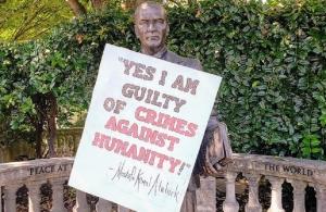 ΗΠΑ: Επιγραφή με μήνυμα κατά της γενοκτονίας κρέμασαν σε άγαλμα του Κεμάλ