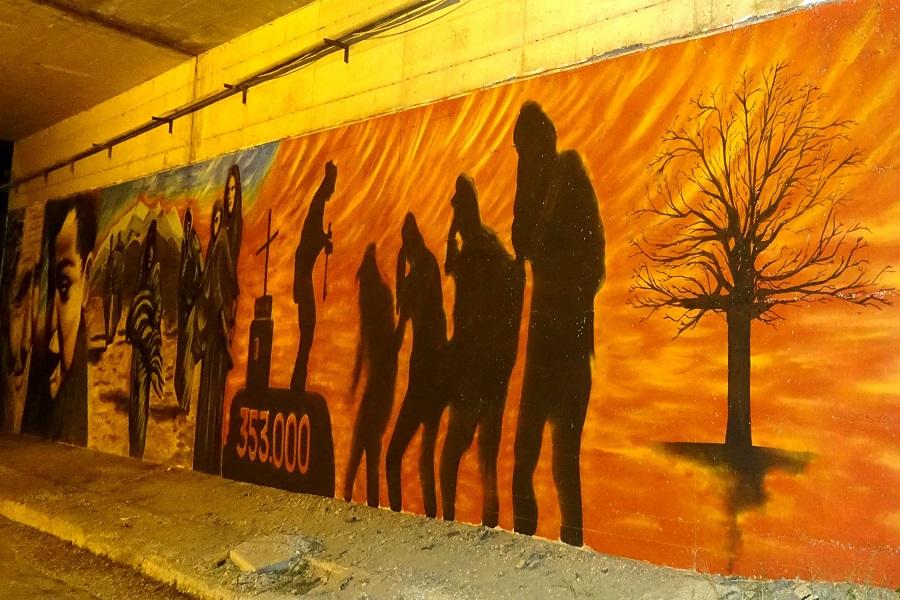 Γκράφιτι στον κόμβο Μαυροδενδρίου-Κοζάνης με θέμα την Γενοκτονία